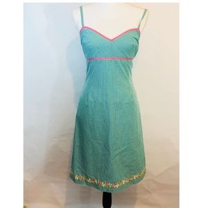 Shoshana Dress Green Gingham Floral Embroidered